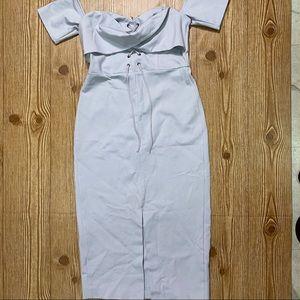 Light Gray Topshop Midi Dress